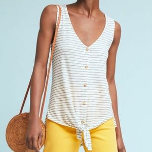 Anthropologie T.La Effervescent Striped Tie Tank